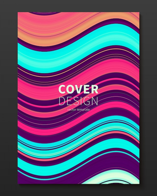 Vector cover design template with gradient color warped lines Free Vector
