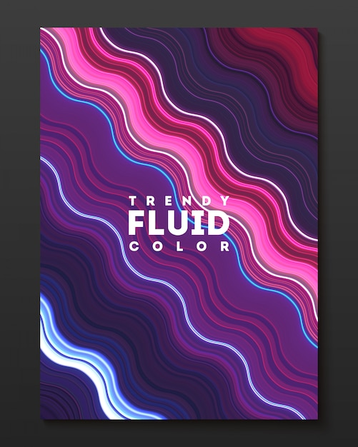 Vector cover design template with gradient color warped lines. Free Vector