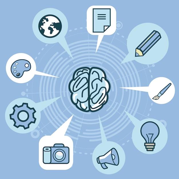 Vector creativity concept - brain and elements in blue color Premium Vector