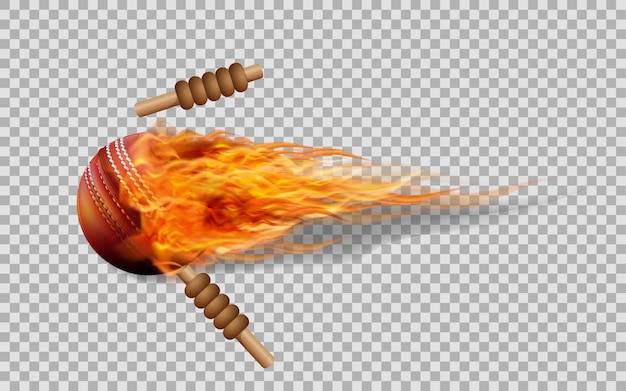 Vector cricket ball in fire on transparent background. Premium Vector