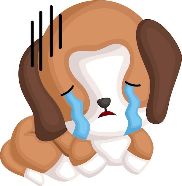 Un vettore di un beagle piangente Vettore gratuito