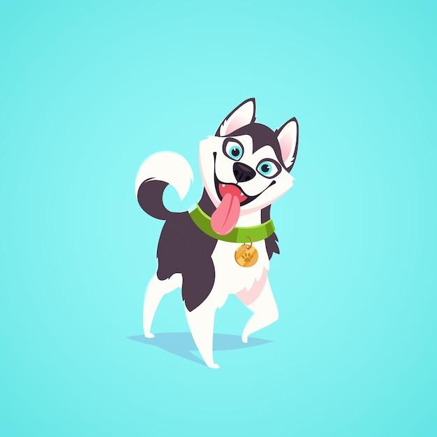 ベクトルかわいい犬のキャラクターイラスト。漫画のスタイル。舌を出して幸せな空腹のコーギー子犬。ペット。 Premiumベクター