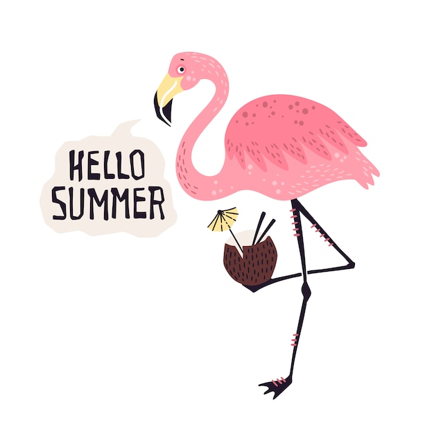 Vector cute flamingo with a tropical cocktail. lettering: hello summer. Premium Vector