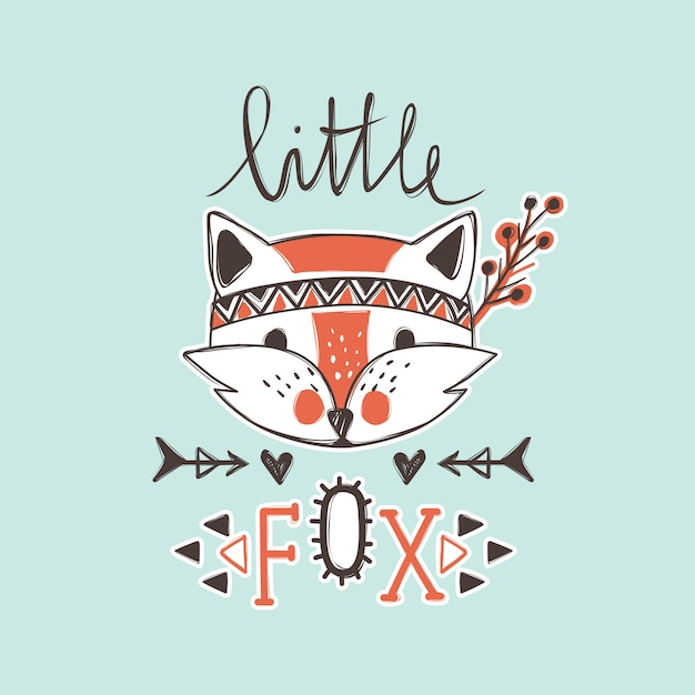Vector cute fox. cartoon style. tribal animals portrait. Premium Vector