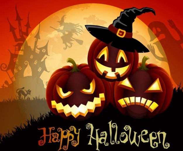 vector cute halloween illustration Free Vector