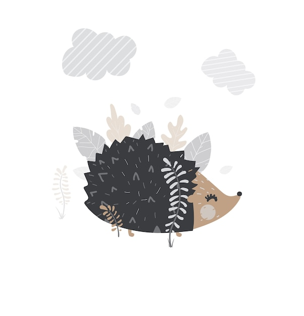 Vector cute hedgehog. Premium Vector