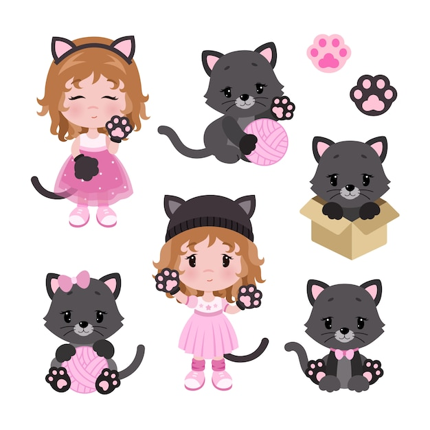Vector cute little baby girl in cat costume and cats Premium Vector