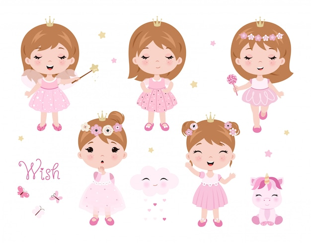 Vector cute little baby girl dressed as princess Premium Vector