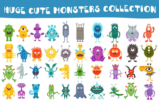 Vector cute monsters collection set Premium Vector