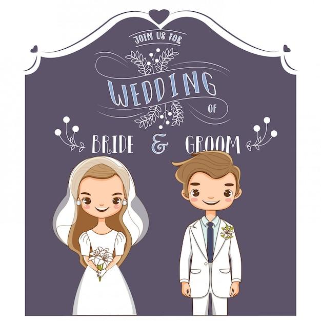 Vector of cute wedding couple for invitations card Premium Vector
