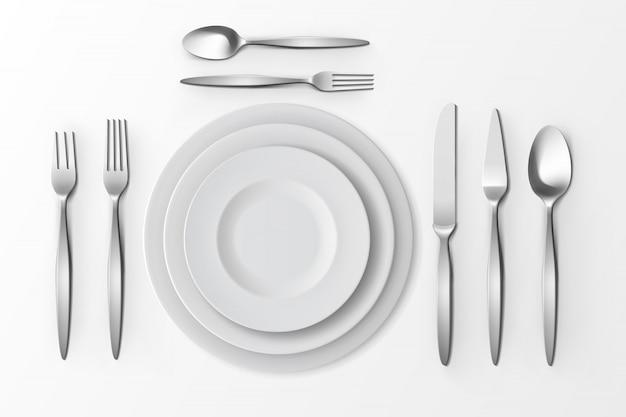 Набор векторных столовых приборов серебряных вилок, ложек и ножей Premium векторы