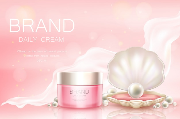 Vector daily cream in jar, cosmetic background Free Vector
