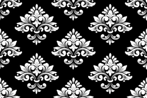 Вектор дамасской бесшовный фон фон. классический роскошный старомодный дамасский орнамент, королевская викторианская бесшовная текстура для обоев, текстиль, упаковка. изысканный цветочный шаблон барокко. Бесплатные векторы
