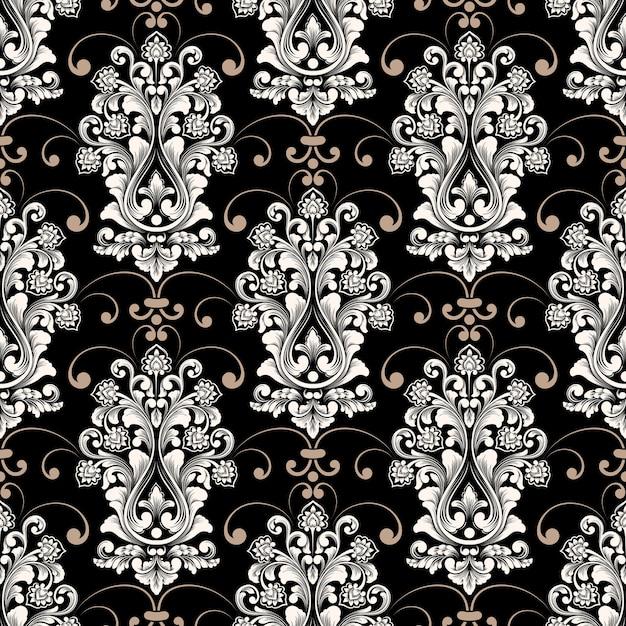 벡터 다 완벽 한 패턴 배경입니다. 클래식 럭셔리 구식 다 장식, 월페이퍼, 섬유, 포장을위한 로얄 빅토리아 원활한 질감. 절묘한 꽃 바로크 템플릿. 무료 벡터