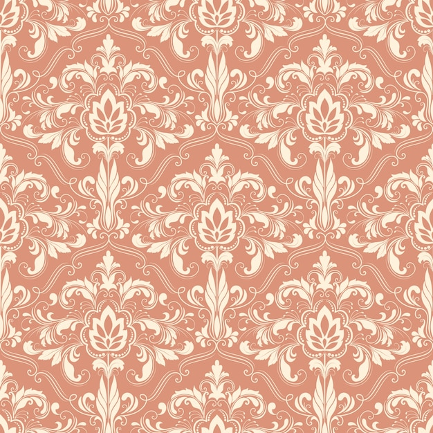 Vector damask seamless pattern background. Classical