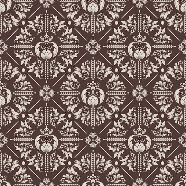 Black Flower 21st Century Op Art Set: Vector Damask Seamless Pattern Background. Classical