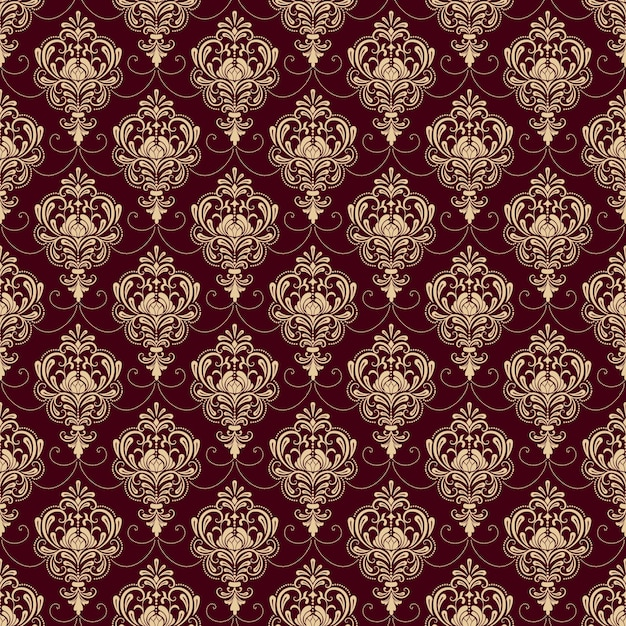 Red Carpet Texture Pattern: Vector Damask Seamless Pattern Background. Classical