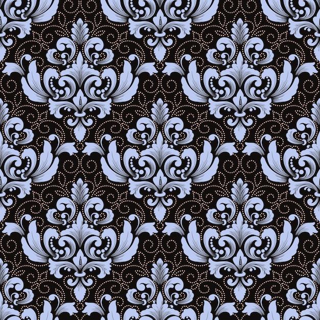 벡터 다 완벽 한 패턴 배경입니다. 클래식 럭셔리 구식 다 장식, 월페이퍼, 섬유, 포장을위한 로얄 빅토리아 원활한 질감. 무료 벡터