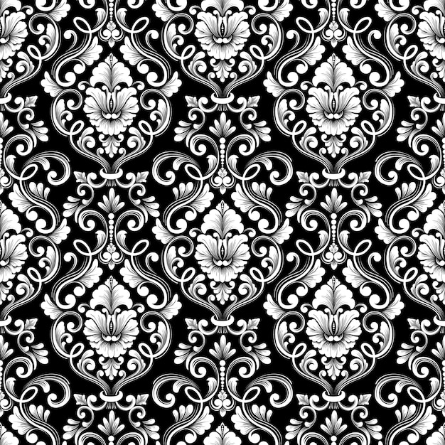 Vector damask seamless pattern background. classical luxury old fashioned damask ornament, royal victorian seamless texture for wallpapers, textile, wrapping. exquisite floral baroque template. Free Vector