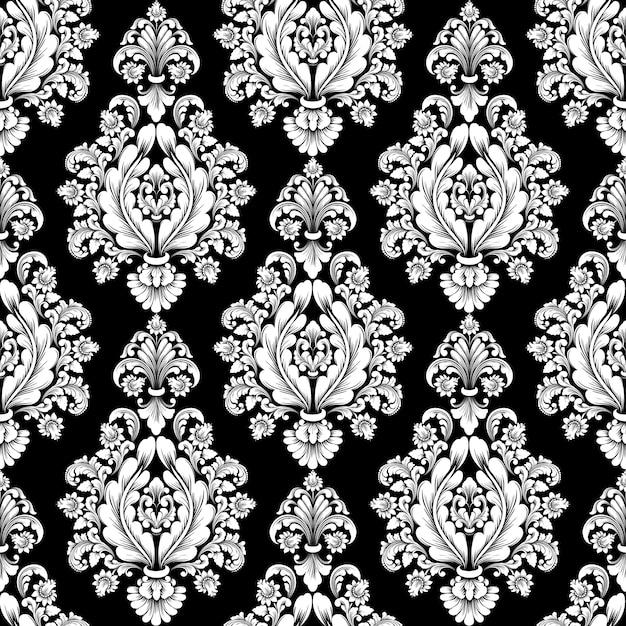 Fondo senza cuciture del modello del damasco di vettore. ornamento damascato vecchio stile classico di lusso, trama senza cuciture vittoriana reale per sfondi, tessuti, confezioni. modello barocco floreale squisito. Vettore gratuito