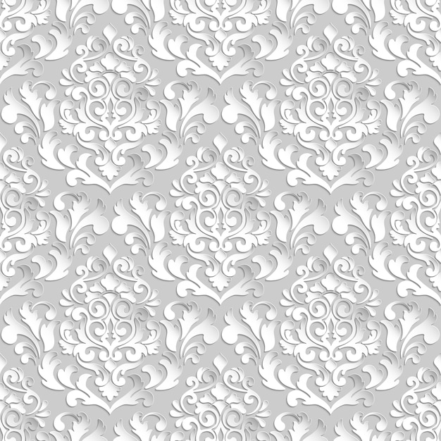 Vector damask seamless pattern background. elegant luxury texture for wallpapers, backgrounds and page fill. 3d elements with shadows and highlights. paper cut. Free Vector