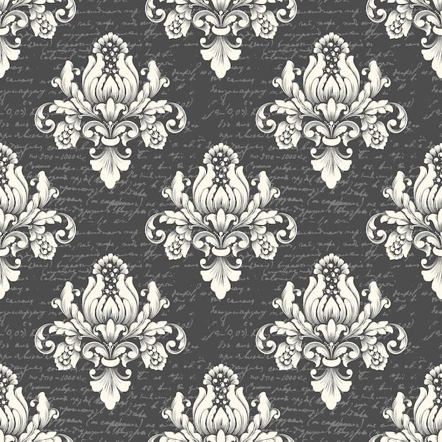 Вектор дамасской бесшовные фон с древним текстом. классический роскошный старинный дамасский орнамент, королевская викторианская бесшовная текстура для обоев, текстиль. изысканный цветочный шаблон в стиле барокко Бесплатные векторы