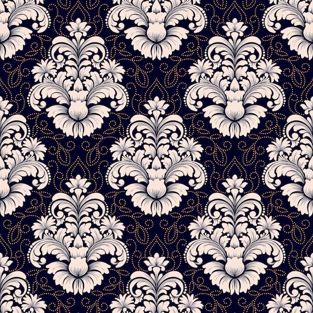 ベクトルダマスクシームレスパターン。古典的な豪華な昔ながらのダマスク織の飾り、壁紙、テキスタイル、ラッピングのロイヤルビクトリア朝のシームレスなテクスチャ。絶妙な花のバロックテンプレート。 無料ベクター