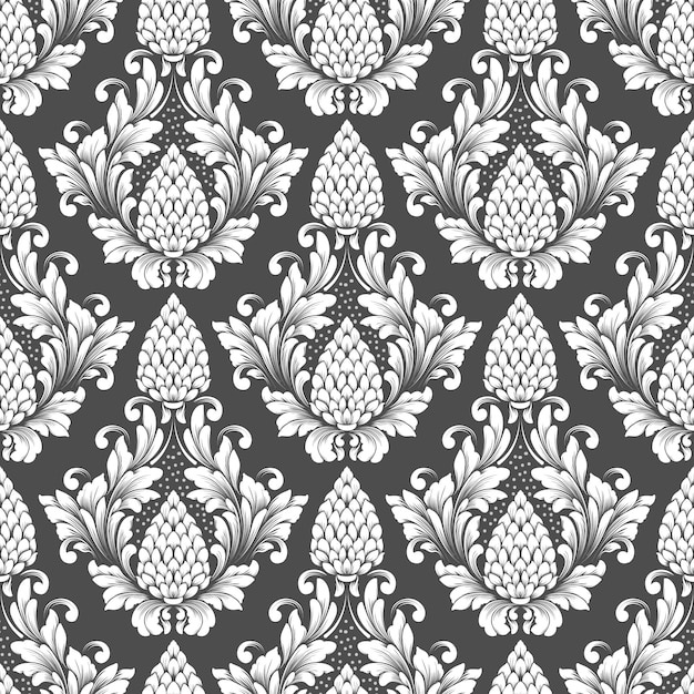 Vector damask seamless pattern. classical luxury old fashioned damask ornament, royal victorian wallpaper Free Vector