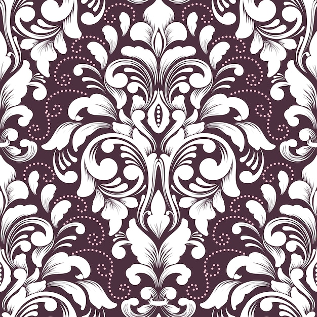 Vector damask seamless pattern element. classical luxury old fashioned damask ornament, royal victorian seamless texture for wallpapers, textile, wrapping. exquisite floral baroque template. Free Vector