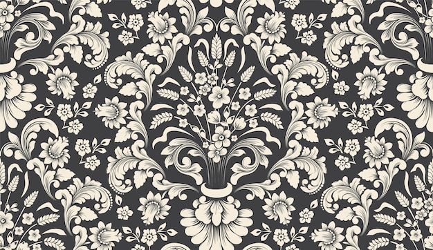 Vector damask seamless pattern element. classical luxury old fashioned damask ornament, royal victorian seamless texture for wallpapers, textile, wrapping. Free Vector