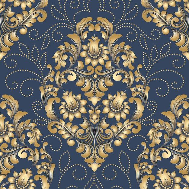 Vector damask seamless pattern element. classical luxury old fashioned damask ornament, royal victorian seamless wallpapers Free Vector