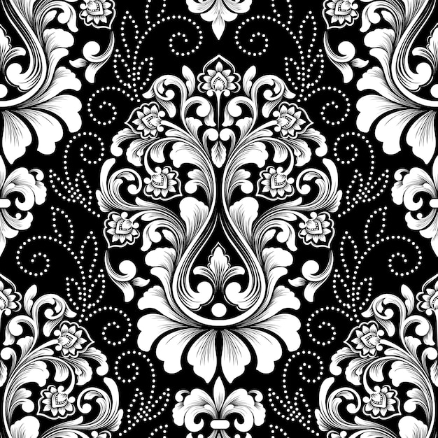 Vector damask seamless pattern. exquisite floral baroque wallpaper. Free Vector