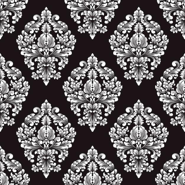 ダマスク織のシームレスなパターンベクトル 無料ベクター