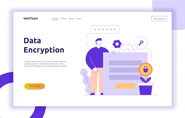 Vector data encryption web page online banner template Premium Vector