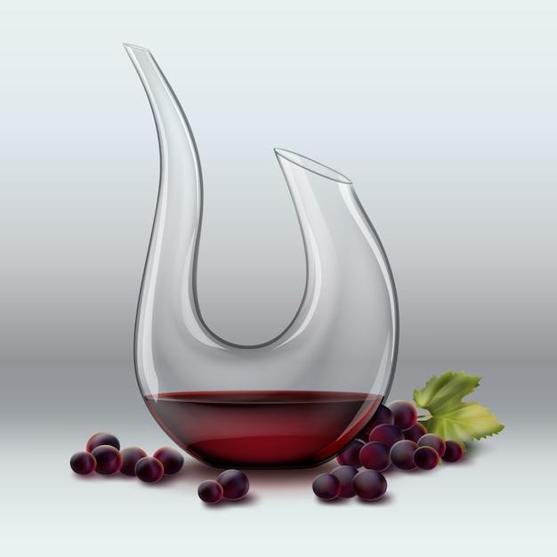 Decanter vettoriale con vino ang uva rossa isolato su sfondo grigio sfumato Vettore gratuito