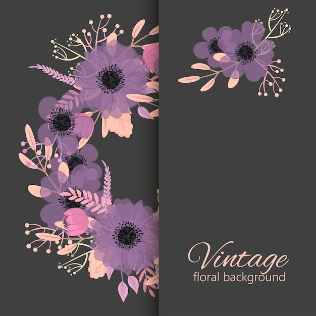 Vector design banner with pink and violet flowers Premium Vector