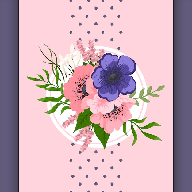Vector design compozition with pink and blue flowers Premium Vector