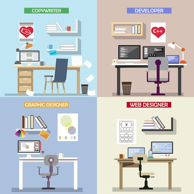 Vector design concept for working places Premium Vector