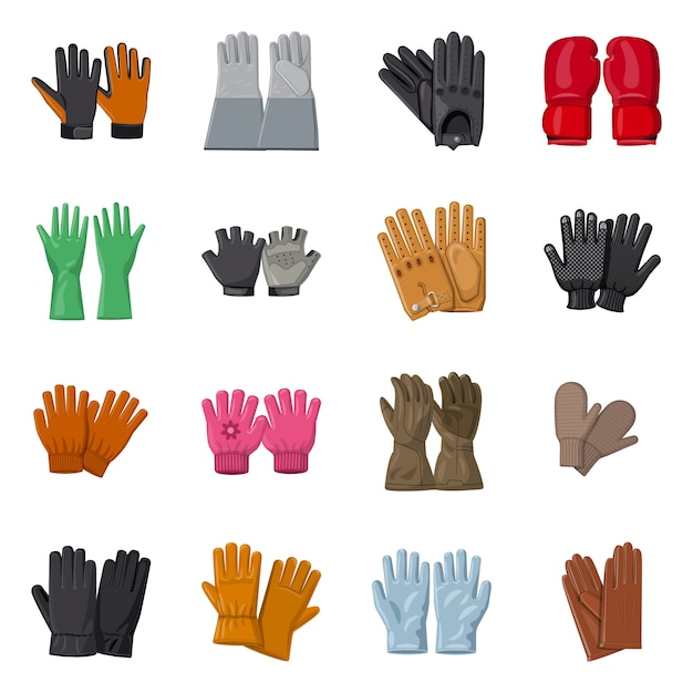 Vector design of glove and winter icon. set of glove and equipment stock symbol for web. Premium Vector