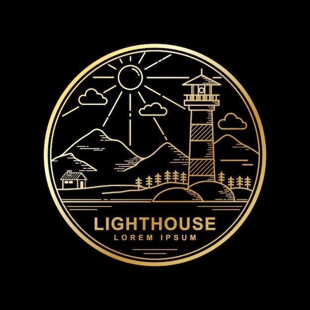 Vector design of lighthouse golden color Premium Vector