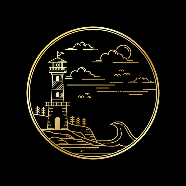 Vector design of lighthouse golden color Premium Vector