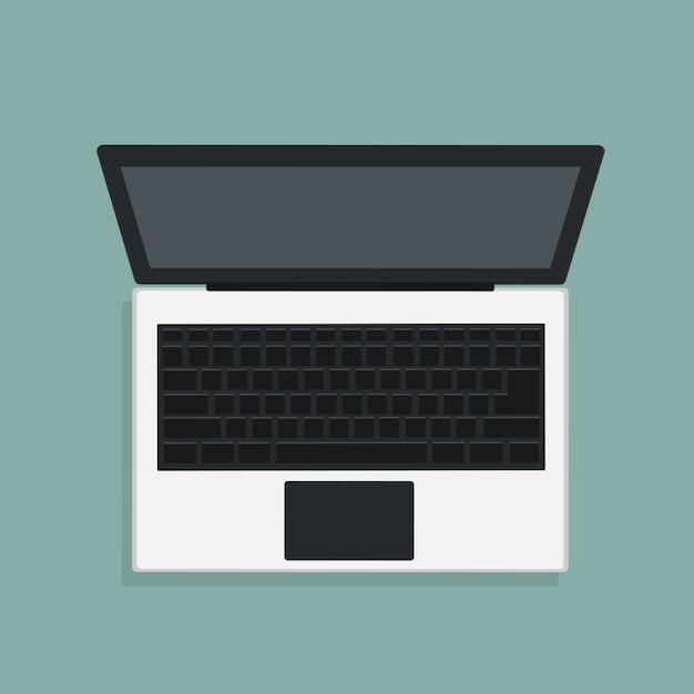 Vector design of modern laptop in top view Premium Vector