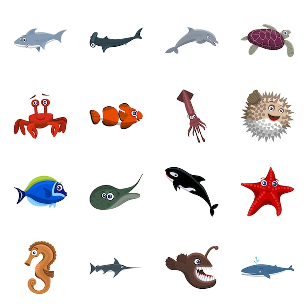 Vector design of sea and animal icon. collection of sea and marine set Premium Vector