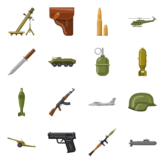 Vector design weapon and gun symbol. collection weapon and army Premium Vector