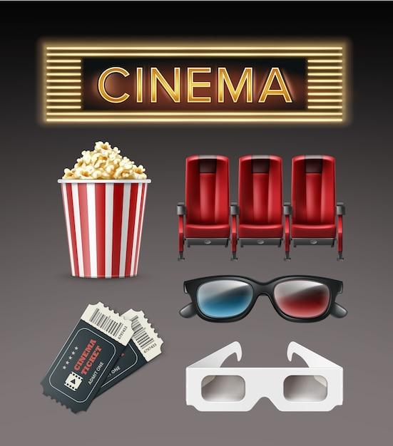 Poltrone rosse di roba di cinema diverso di vettore, occhiali 3d, biglietti, secchio di popcorn, parte superiore dell'insegna di cinema illuminato, vista laterale isolata su sfondo scuro Vettore gratuito