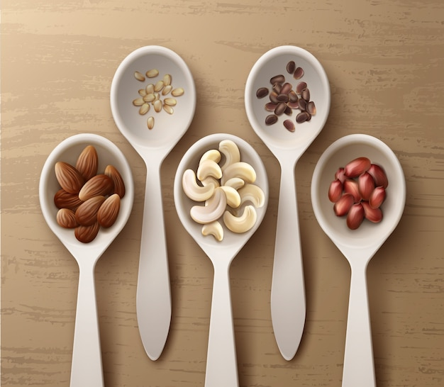 Вектор различных орехов в белых ложках арахиса, кешью, миндаля и кедра, вид сверху на деревянной поверхности Premium векторы