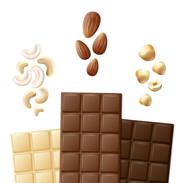 白い背景で隔離のカシューナッツ、アーモンド、ヘーゼルナッツの正面図でさまざまな白、牛乳、苦いチョコレートバーをベクトルします。 無料ベクター