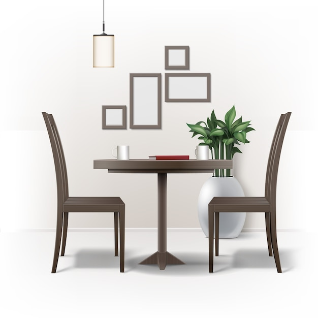 Vector dining room interior with round brown wooden table, two chairs, red book, cups of coffee or tea, lamp, plant in pot and photo frames on wall isolated on white background Free Vector