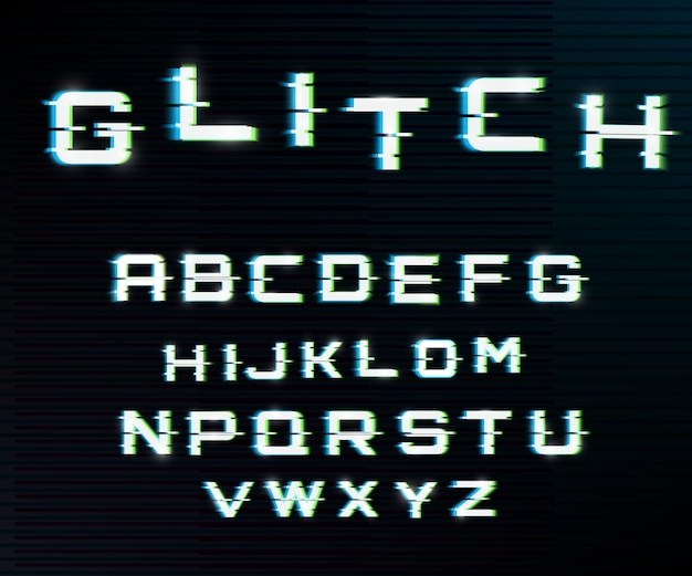 Vector distorted glitch font. Premium Vector