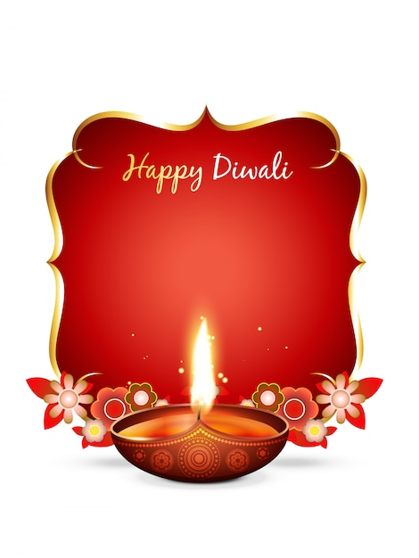 Vector diwali greeting with text space Premium Vector